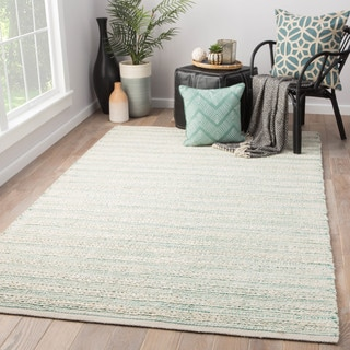 "Solis Natural Stripe White/ Turquoise Area Rug (2'6"" x 4') - 2'6"" x 4'"