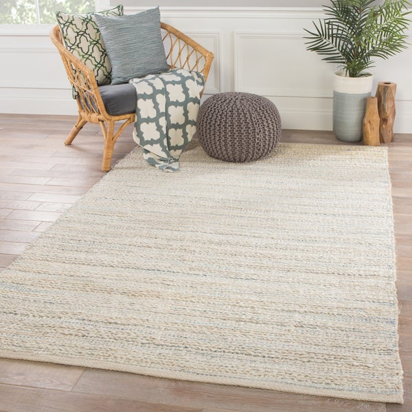 Shop Solis Natural Stripe White Blue Area Rug 26 X 4 26 X