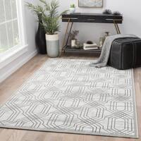 Marsielle Trellis White/ Dark Gray Area Rug (2' X 3')