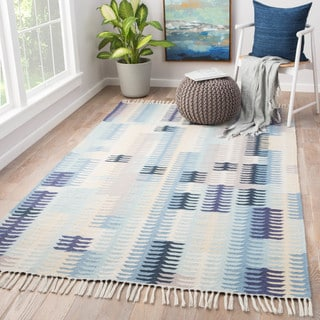 Afton Indoor/ Outdoor Abstract Blue/ Gray Area Rug (2' X 3')