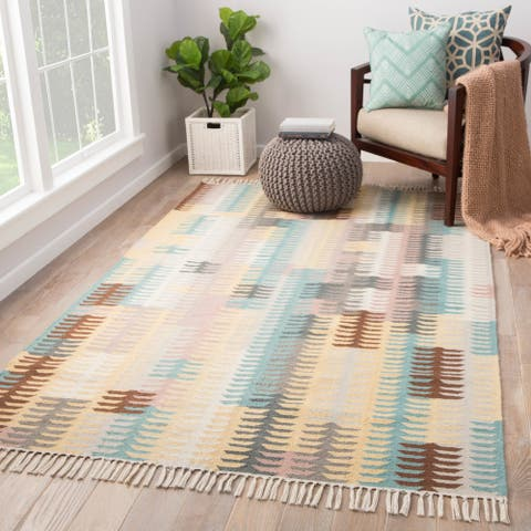 Afton Indoor/ Outdoor Abstract Turquoise/ Yellow Area Rug - 2' x 3'
