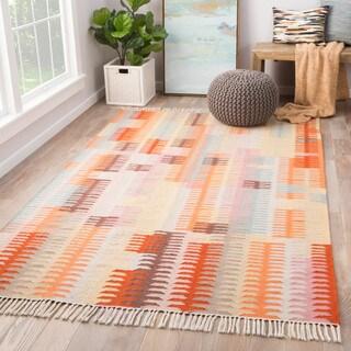 Afton Indoor/ Outdoor Abstract Orange/ Brown Area Rug - 2' x 3'