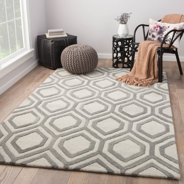 Cyrene Handmade Trellis White/ Gray Area Rug (2' X 3')