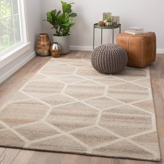Tulsa Handmade Geometric Gray/ Cream Area Rug (2' x 3')