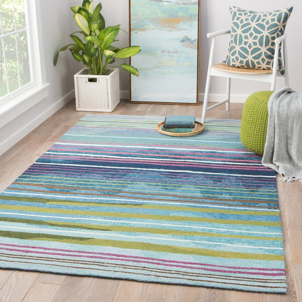 Minta Indoor/ Outdoor Stripe Multicolor Area Rug (2' X 3')