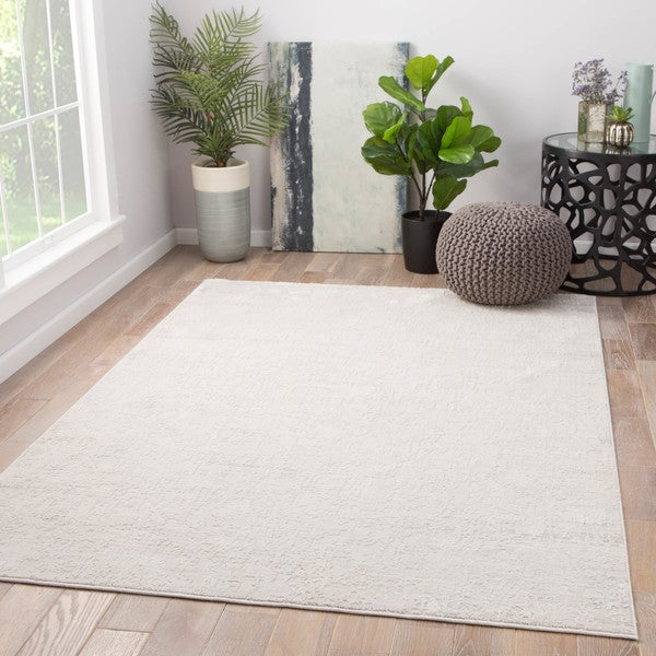 Laramie Abstract Silver/ White Area Rug - 2' x 3'