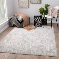 Abstract Grey/ White Area Rug - 2'x3'