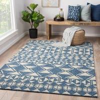 Salinas Indoor/ Outdoor Geometric Blue/ Cream Area Rug