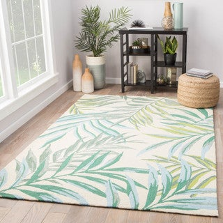 Halona Indoor/ Outdoor Floral Green/ Cream Area Rug (2' X 3')