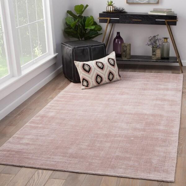 Shop Lizette Pink Viscose Handmade Area Rug (8' X 10')