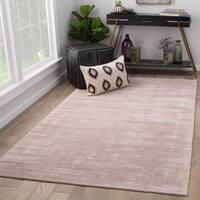 "Lizette Pink Viscose Handmade Area Rug (8' x 10') - 7'10"" x 9'10"""