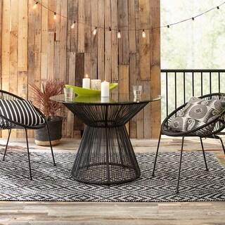 """Arbor Black/Cream Handmade Trellis Area Rug (8' X 11') - 7'10"""" x 10'10"""""""