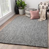 Juniper Home Terre Black/Silver Jute/Wool Handmade Chevron Area Rug (8' x 10')