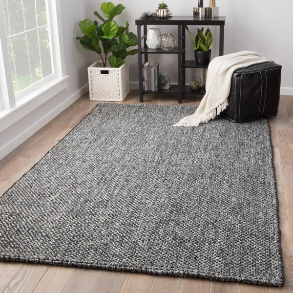 Shop Hyde Solid Black Grey Jute Wool Handmade Area Rug 8