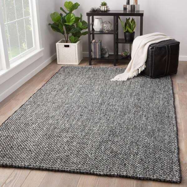 Hyde Solid Black Grey Jute Wool Handmade Area Rug Overstock 18193284