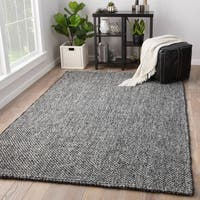 Juniper Home Hyde Solid Black/Grey Jute Wool Handmade Area Rug (8' x 10')