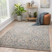 "Angkor Grey/Navy Wool Hand-knotted Medallion Area Rug (8' x 10') - 7'10"" x 9'10"""