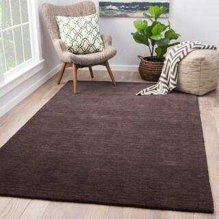 "Constanz Solid Black Wool Handmade Area Rug (8' x 11') - 7'10"" x 10'10"""
