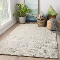 Havenside Home Chincoteague Solid White/ Grey Natural Jute Area Rug - 8' x 10'