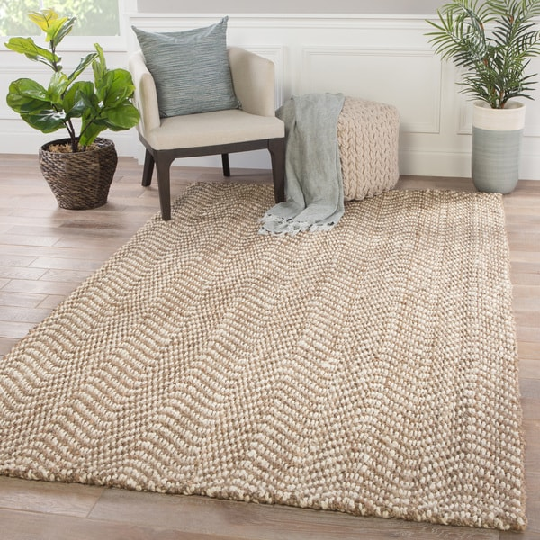 Juniper Home Mayara Chevron Taupe White Jute Area Rug 8 X27