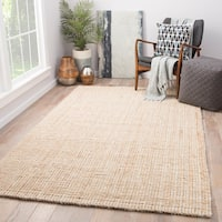 Havenside Home Chincoteague Natural Jute Solid Tan/ White Area Rug - 8' x 10'