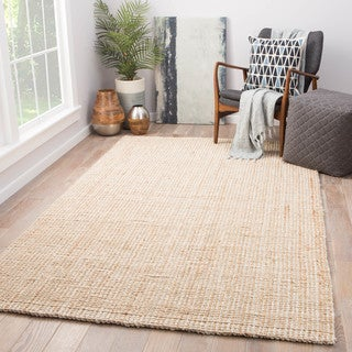 Juniper Home Cayman Natural Jute Solid Tan/ White Area Rug (8' x 10')