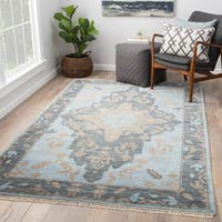Juniper Home Rheya Blue/Brown Wool Hand-knotted Medallion Area Rug (8' x 10')