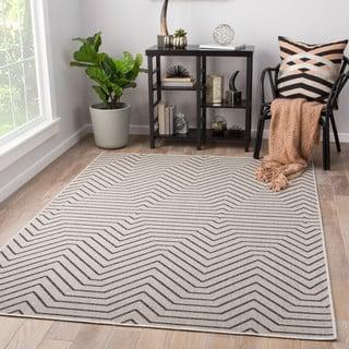 """Clarion Indoor/ Outdoor Geometric Light Gray/ Black Area Rug (7'6"""" X 9'6"""")"""