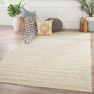 "Solis Natural Stripe White/Green Rayon/Jute/Cotton Indoor Rectangular Area Rug (8' x 10') - 7'10"" x 9'10"""