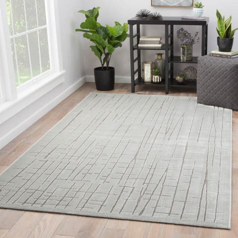 "Eline Silver/Gray Abstract Area Rug (7'6 x 9'6) - 7'6"" x 9'6"""