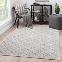 Juniper Home Basset White/ Grey Bamboo Rayon Geometric Area Rug - 7'6 x 9'6