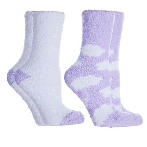 MinxNY Clouds Fluffy Chenille Socks, 2 Pair