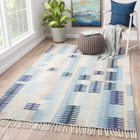 "Afton Blue/Grey Abstract Indoor/Outdoor Area Rug - 7'10""X9'10"""