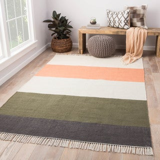 """Tahoe Coral/Green Striped Area Rug (8' x 10') - 7'10"""" x 9'10"""""""