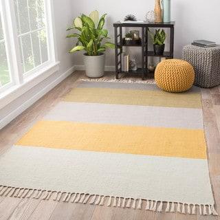 """Tahoe Striped Yellow/Tan Indoor/Outdoor Area Rug (8' x 10') - 7'10"""" x 9'10"""""""