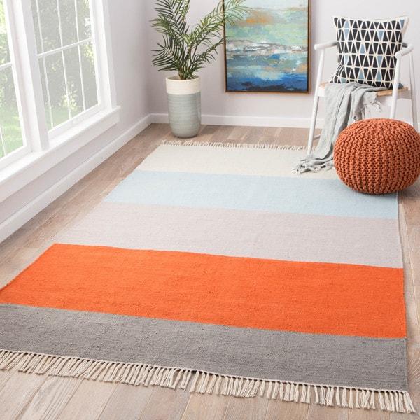 Shop Tahoe Orange Blue Grey Indoor Outdoor Striped Area