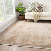 Juniper Home Caspar Cream/Tan Wool/Viscose Abstract Area Rug (7'6 x 9'6)