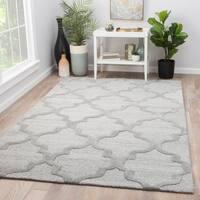 Portland Trellis Gray Viscose Wool Handmade Area Rug (8' x 11')