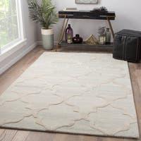 Juniper Home Portland Grey/Cream Wool/Viscose Handmade Trellis Area Rug (8' x 11')