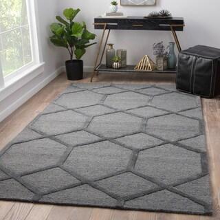 Juniper Home Tulsa Handmade Geometric Grey Wool/Viscose Area Rug (8' x 11')