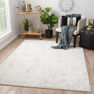 """The Curated Nomad Foxborough Abstract Silver/White Viscose Blend Area Rug - 7'6"""" x 9'6"""""""