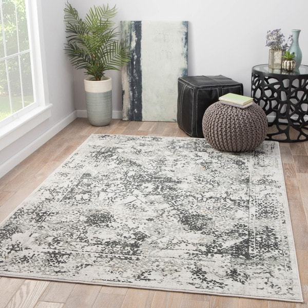 Maison Rouge Beaumont White/Grey Abstract Area Rug - 7'6 x 9'6