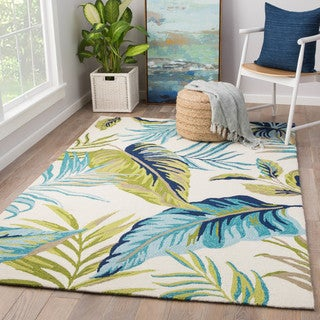 Havenside Home Folly Montego Blue/ Green Indoor/ Outdoor Floral Area Rug (7'6 x 9'6)