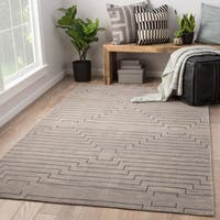 Xavier Hand-Knotted Geometric Light Gray/ Silver Area Rug (8' x 11')