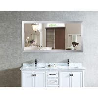 US Made Elemental Jaded Platinum Framed Double Vanity Mirror - Silver