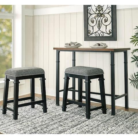 Mayfair Black and White Tweed Backless Counter Stool