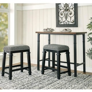 Link to Mayfair Black and White Tweed Backless Counter Stool Similar Items in Dining Room & Bar Furniture