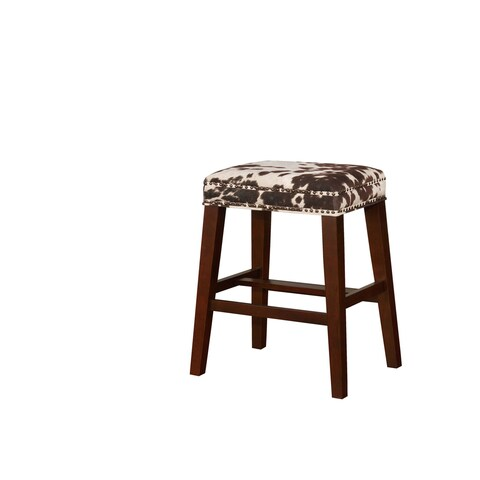 Linon Ian Brown Cow Print Bar Stool
