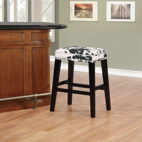 Ian Black Cow Print Bar Stool. Opens flyout.
