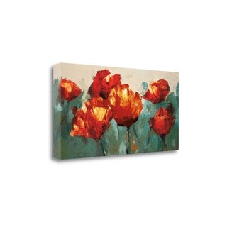 Poppies On Slate By Peter Colbert,  Gallery Wrap Canvas